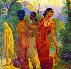 """Shakuntala looking back to glimpse Dushyanta below the picture and also ""picture source: wikipedia"""