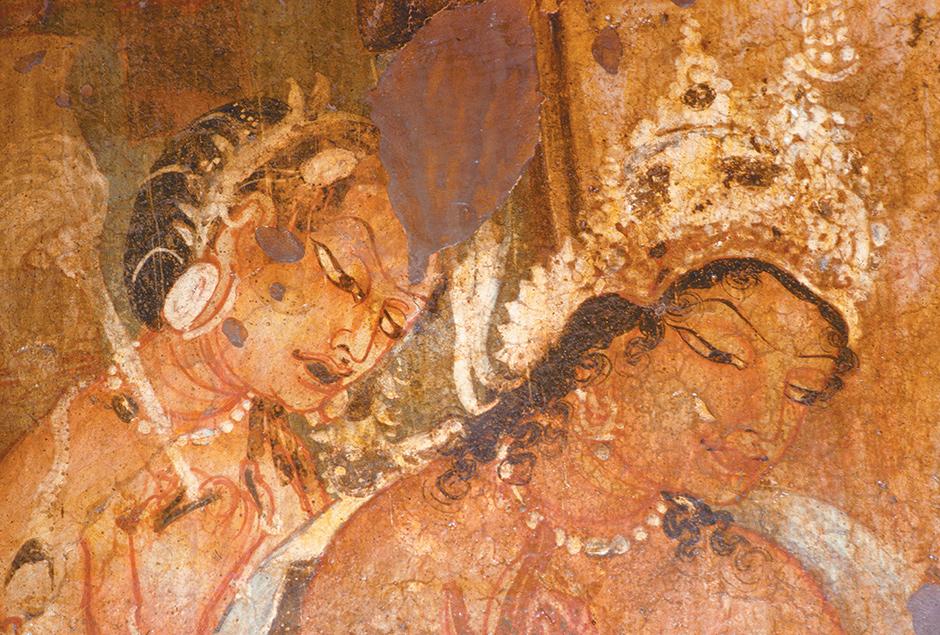 Charles and Josette Lenars/Corbis Detail from a mural in Cave One at Ajanta, showing King Mahajanaka, at right